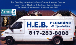 A business Card showing an HEB Plumbing Van