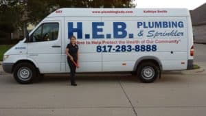 Kathlyn Smith and her HEB Plumbing van