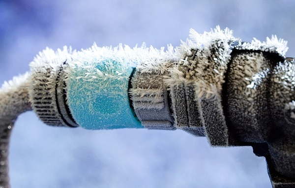 A Sprinkler attachment frosted over in winter