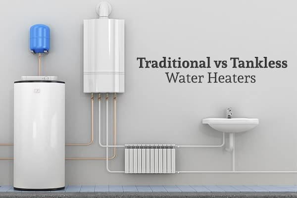 "A storage tank water heater, a tankless water heater, a sink, and pipes are installed beside a wall with the words ""Traditional vs Tankless Water Heaters"""