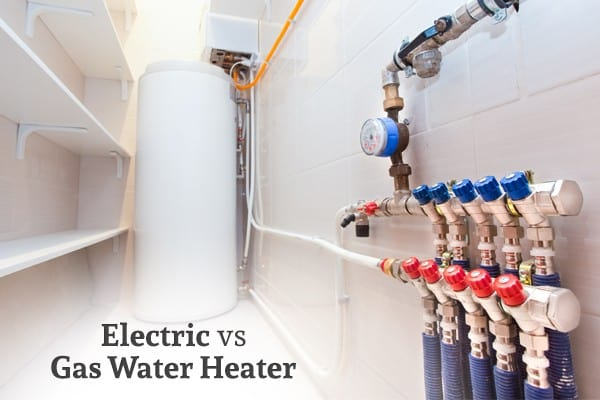 "A picture of a water heater along with pipes and gauges and the words ""Electric vs Gas Water Heater"""