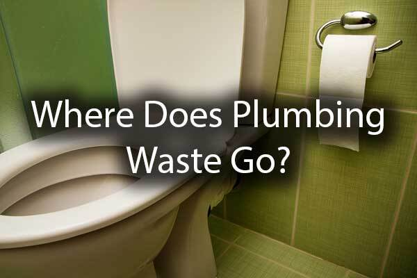 "A close up of a toilet with the words, ""Where Does Plumbing Waste Go?"""