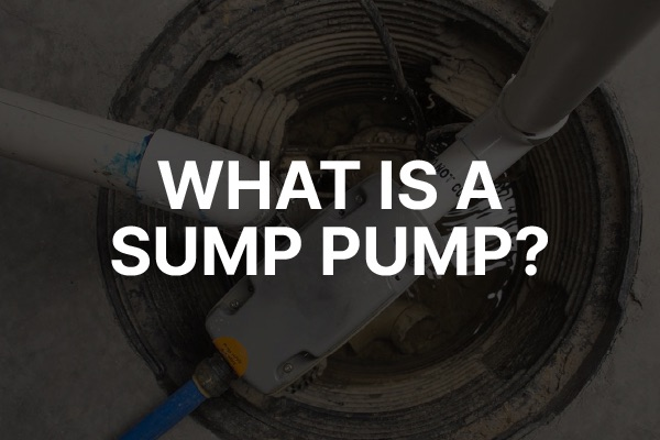 """A picture of a drain with the words, """"what is a sump pump."""""""